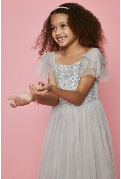 Silver Girls Angel Sleeve Bridesmaids Dress