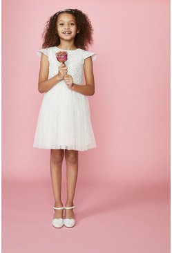 Ivory Girls Sequin Bodice Bridesmaids Dress