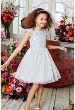Silver Girls Sequin Bodice Bridesmaids Dress