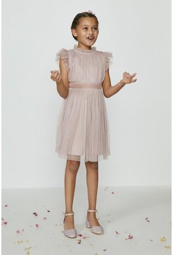 Blush Girls Mesh Tiered Bridesmaids Dress