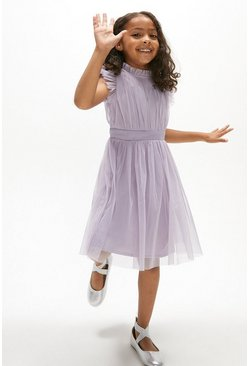 Lilac Girls Mesh Frill Sleeve Bridesmaids Dress