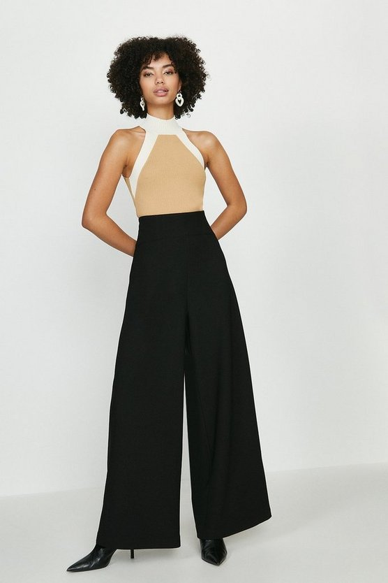 Black High Waist Body Form Trousers