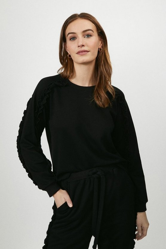 Black Ruffle Jumper