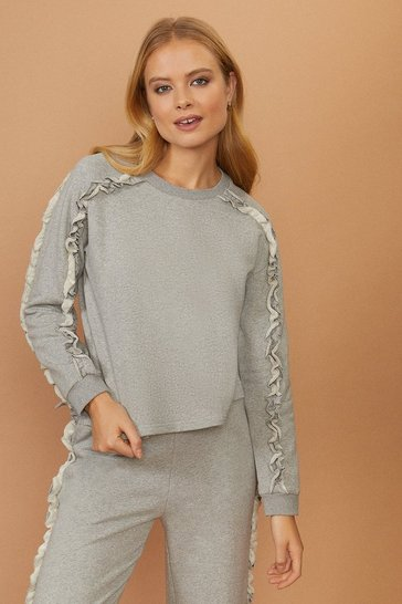 Grey marl Ruffle Jumper