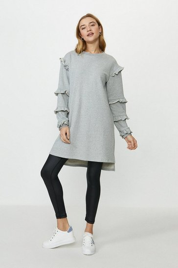 Grey marl Ruffle Tunic Dress