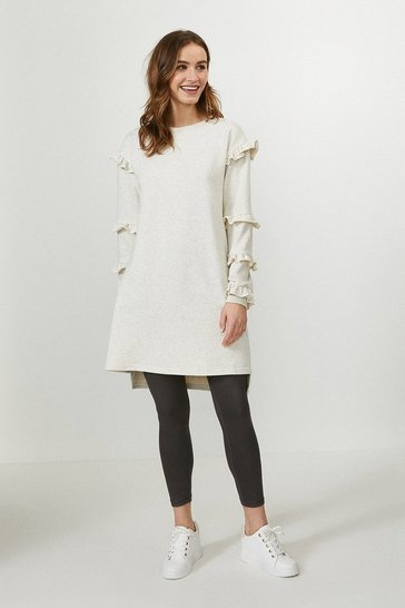 Oatmeal Ruffle Tunic Dress