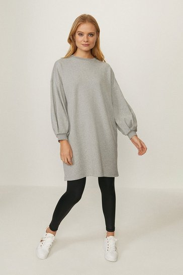 Grey marl Popper Tunic Dress