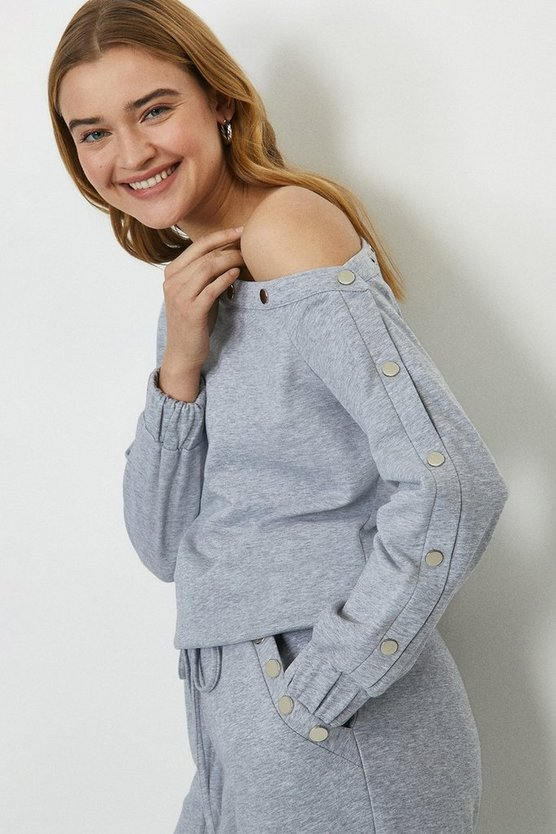 Grey marl Popper Bardot Top