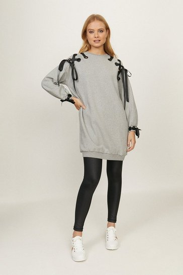 Grey marl Eyelet Ribbon Sweat Tunic