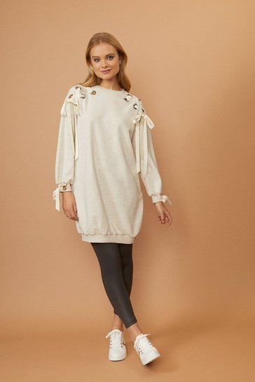 Oatmeal Eyelet Ribbon Sweat Tunic
