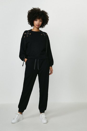 Black Eyelet Ribbon Jogger
