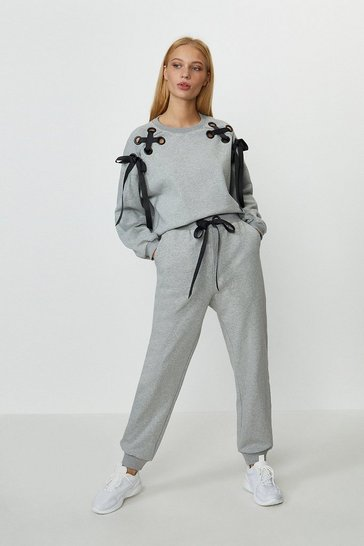 Grey marl Eyelet Ribbon Jogger