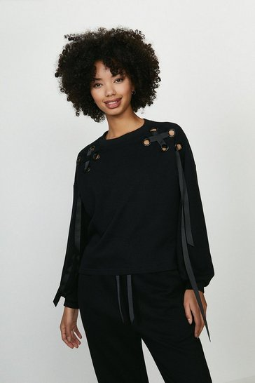Black Eyelet Ribbon Sweatshirt