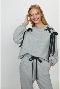 Grey marl Eyelet Ribbon Sweatshirt