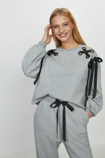 Grey marl Eyelet Ribbon Sweat Jumper