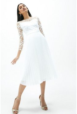 Ivory Embroidered Long Sleeve Dress