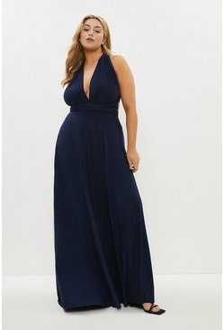 Navy Curve Multiway Jersey Maxi Dress