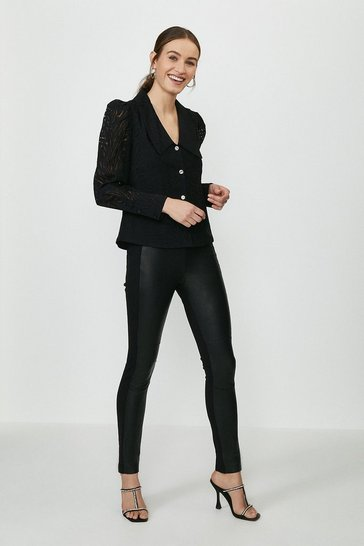 Black Leather And Ponte Leggings
