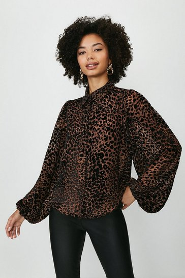 Leopard High Neck Balloon Sleeve Top