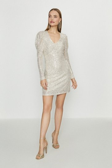 Beige Puff Sleeve Short Sequin Dress