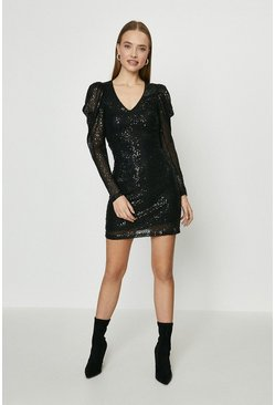 Black Puff Sleeve Short Sequin Dress
