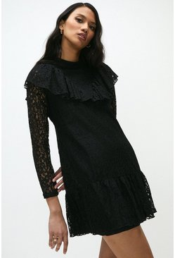 Black Lace Long Sleeve Frill Detail Dress