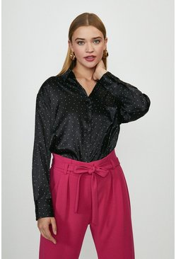 Black Polka Dot Satin Shirt