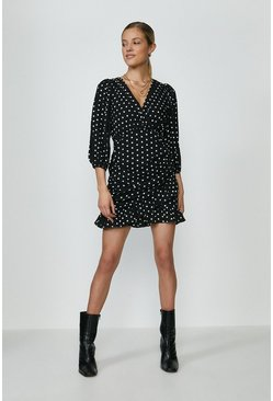 Black Polka Dot Ruched Skirt Wrap Dress