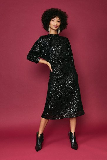Black Blouson Sleeve Sequin Midi Dress