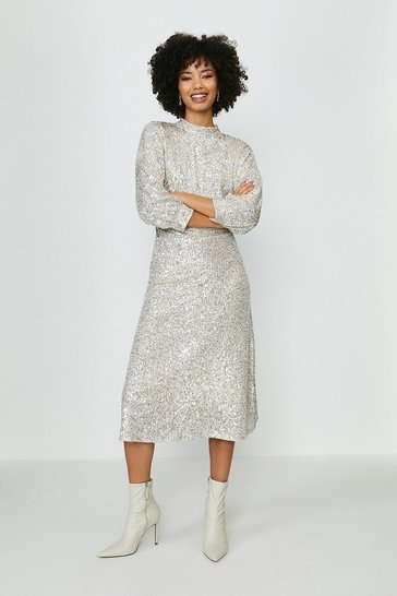 Silver Blouson Sleeve Sequin Midi Dress