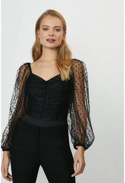 Black Polka Dot Mesh Puff Sleeve Ruched Bodysuit