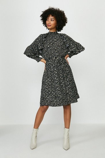 Black Smudge Print Ruffle Sleeve Dress