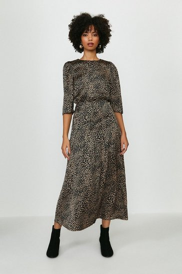 Black Smudge Print Midi Dress