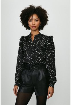 Black Polka Dot Frill Shirt