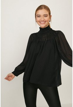 Black Spotted Shirred High Neck Blouse