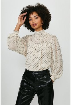 Ivory Spotted Shirred High Neck Blouse