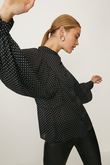 Black Polka Dot Volume Sleeve Shirt