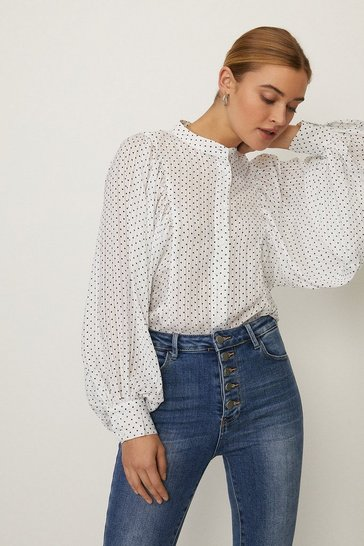 White Polka Dot Volume Sleeve Shirt