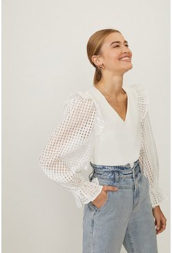 White Ruffle Shoulder V Neck Top