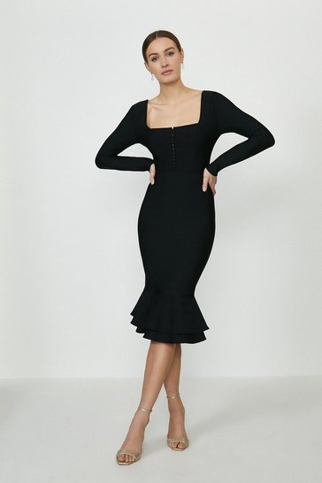 Black Button Up Frill Hem Long Sleeve Bandage Dress