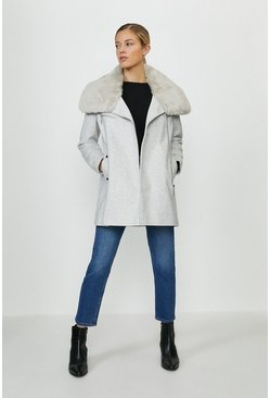 Grey Faux Fur Collar Zip Up Coat