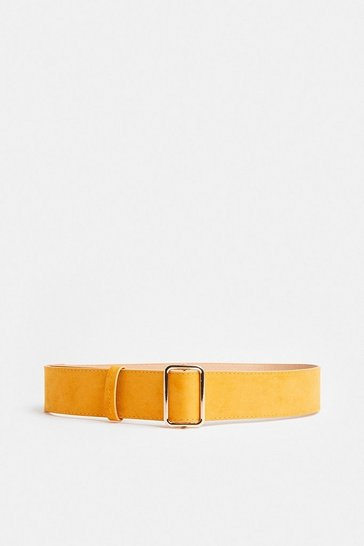 Mustard Suedette Oval Buckle Belt