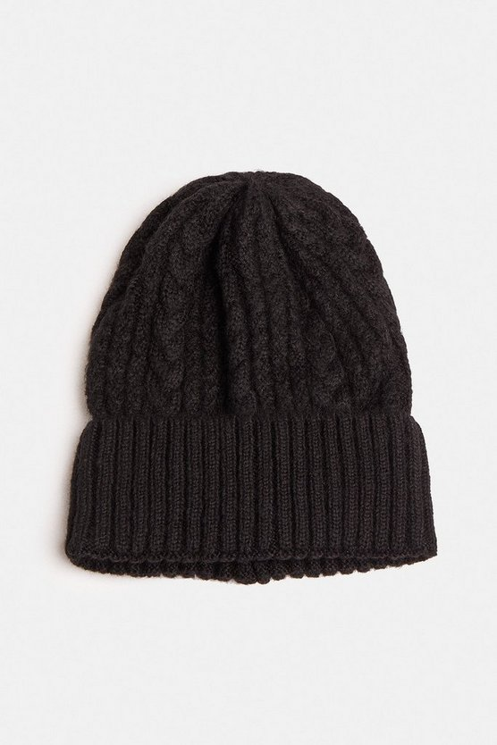 Black Cable Knit Beanie Hat