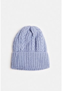 Blue Cable Knit Beanie Hat