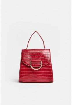 Merlot Ring Detail Croc Mini Bag
