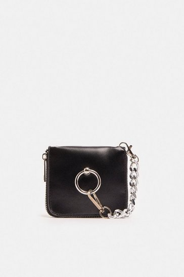 Black Ring Detail Mini Cross Body Bag