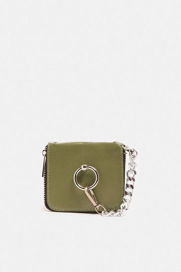 Green Ring Detail Mini Cross Body Bag