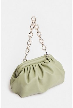 Olive Chain Strap Slouchy Shoulder Bag