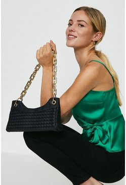Black Chunky Chain Weaved Shoulder Bag