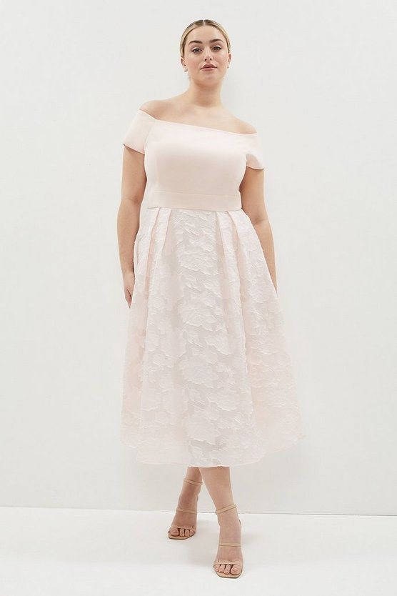 Blush Curve Bardot Neck Embroidered Midi Dress